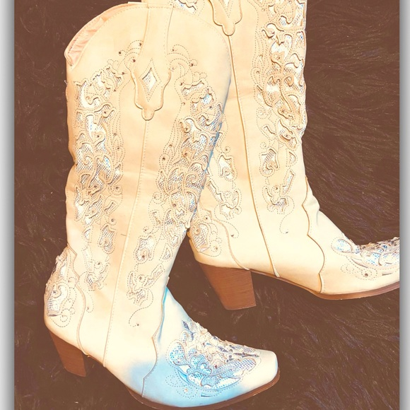 Tall Ivory & Iridescent Glam Western  Boots